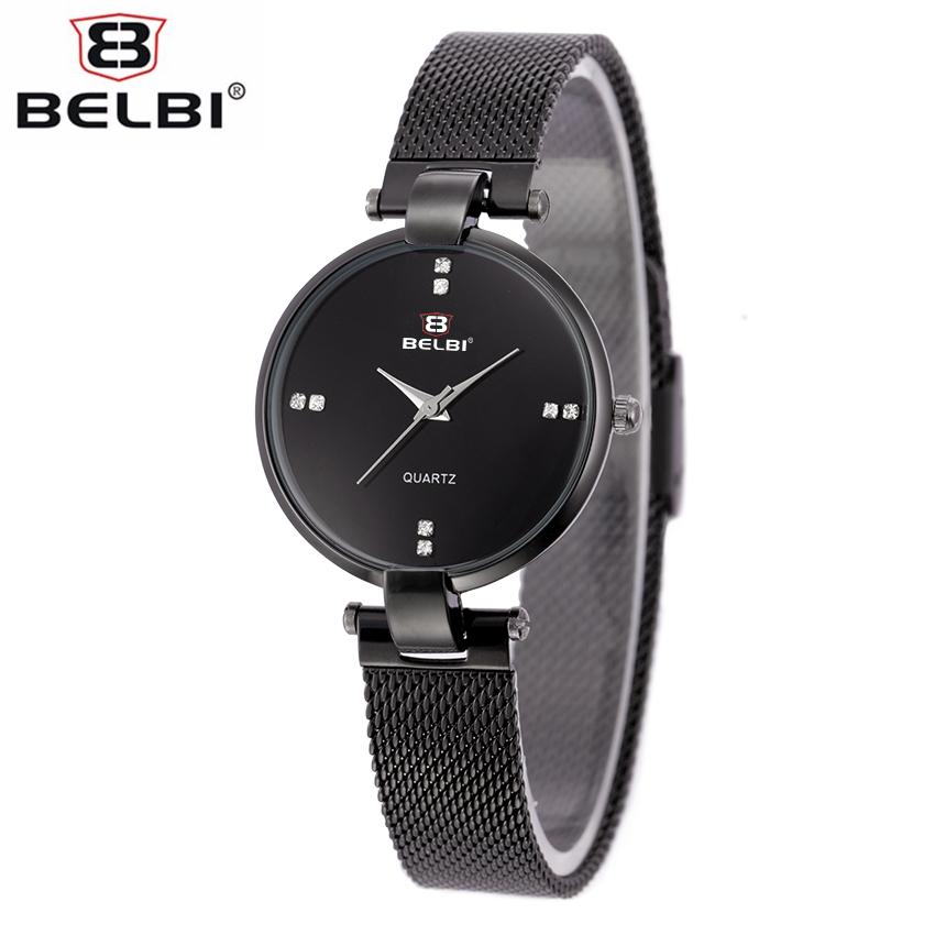 Prix pour BELBI De Luxe Montre Étanche Conçu Pour Femmes En Acier Inoxydable Maille Bracelet Simple Style Élégant Casual Quartz Montre-Bracelet