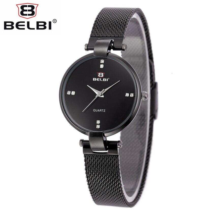 BELBI Luxury Waterproof Watch Designed For Women Stainless Steel Mesh Bracelet Simple Elegant Style Casual Quartz