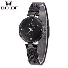 BELBI De Luxe Montre Étanche Conçu Pour Femmes En Acier Inoxydable Maille Bracelet Simple Style Élégant Casual Quartz Montre-Bracelet