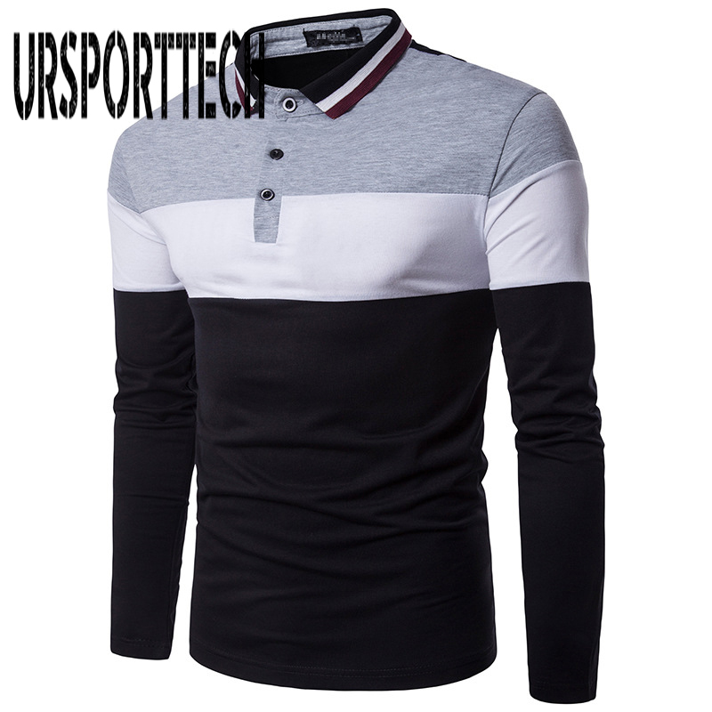 URSPORTTECH Brand Men   Polo   Shirt Men 's Business & Casual solid   polo   shirt Splice long-sleeved breathable   polo   shirts M-2XL