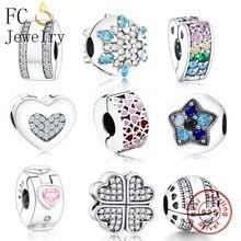 FC Jewelry Fit Original Pandora Charm pulsera 925 Plata de Ley Animal familia tapón COLLAR COLGANTE cuentas Clip Berloque