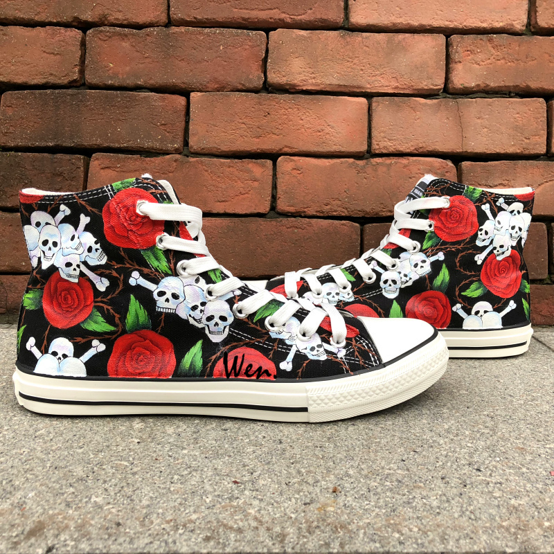 Wen Original Hand Painted Shoes Design Custom Skulls Red Roses High Top Men Womens Canvas Sneakers Birthday PresentsWen Original Hand Painted Shoes Design Custom Skulls Red Roses High Top Men Womens Canvas Sneakers Birthday Presents