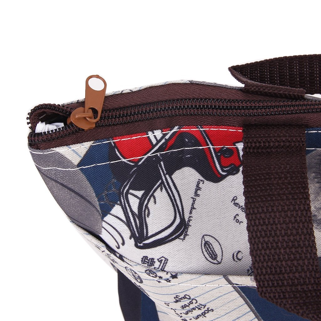 Lunch Box Tote Bag Insulated Cooler Bag Carrying Case for Travel Picnic Ball Pattern
