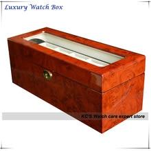 Doble capa de calidad superior Grossy pintura de acabado de madera caja de reloj para RLX reloj con tapa transparente para viendo GC02-LG1-05HZX
