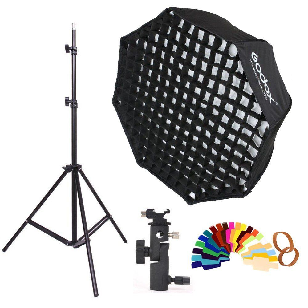 Godox 80 cm Octogone grille nid d'abeille Parapluie Softbox et Lumière kit de Support