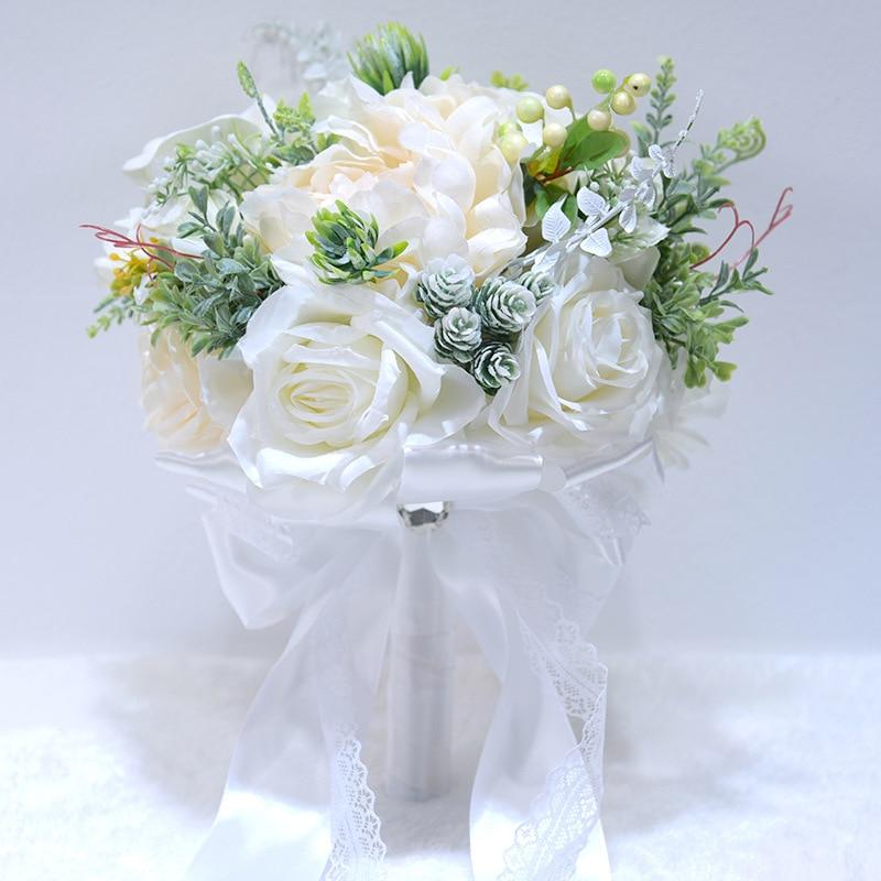 Cream White Bridal Brooch Bouquet Pink Purple Blue Roses Fruit Artificial Wedding Flower Bridesmaid Bouquet ramo de novia 2019