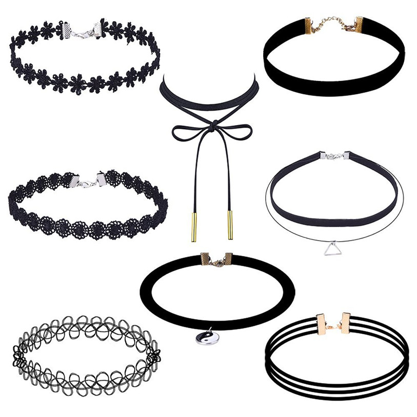 Superior 8 Pieces Choker Set Stretch Velvet Classic Gothic Women Girls Tattoo Lace Choker Watch Hot Sale Oct 14*