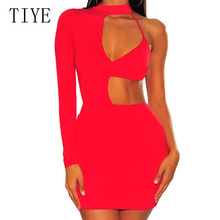 TIYE Summer Sexy Hollow Out Backless Mini Dress Fashion One Shoulder Elegant Bodycon Bandage Night Club Party Dresses