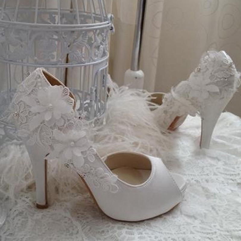 Wedding Gift Dress Shoes Bridal Bridesmaid High Heel Peep Toe Party Banquet Off White Color Size 34 40 In Womens Pumps From