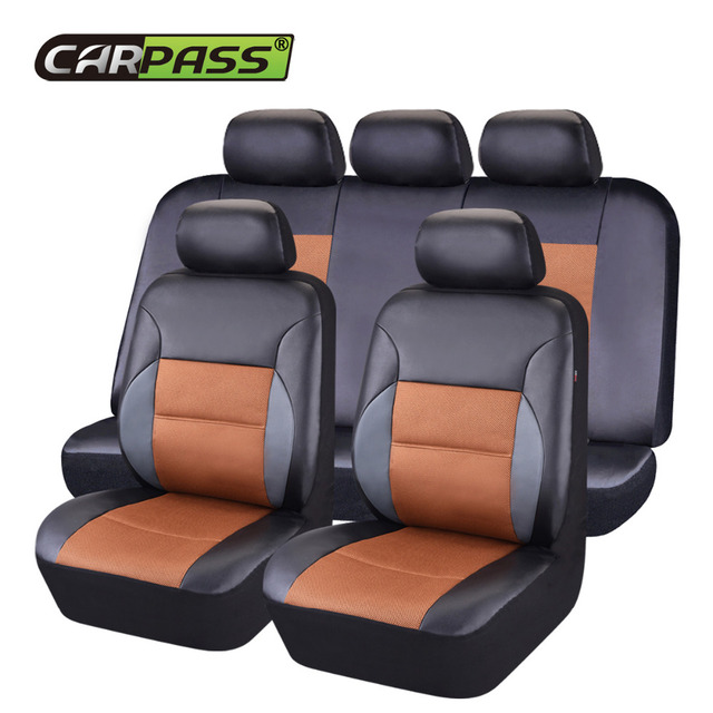Car-pass  Universal Car Seat Cover Leather Full Set Black Red For Chrysler 300c Grand Voyager 300 Waterproof Accessories