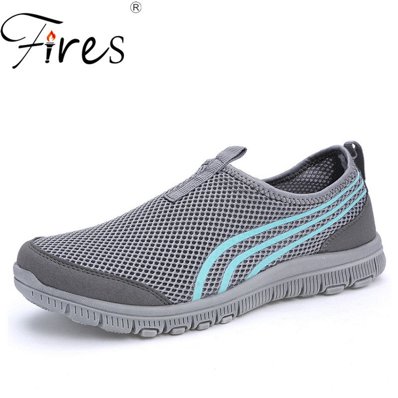 Fires Men Mesh Sneakers Summer Breathable Loafer Shoes Blue Gray Male Driving Shoes Comfortable Casual Shoes Outdoor Cool Flats fires men casual shoes fashion black white loafer shoes male breathable cool flat shoes high top man s outdoor sneakers
