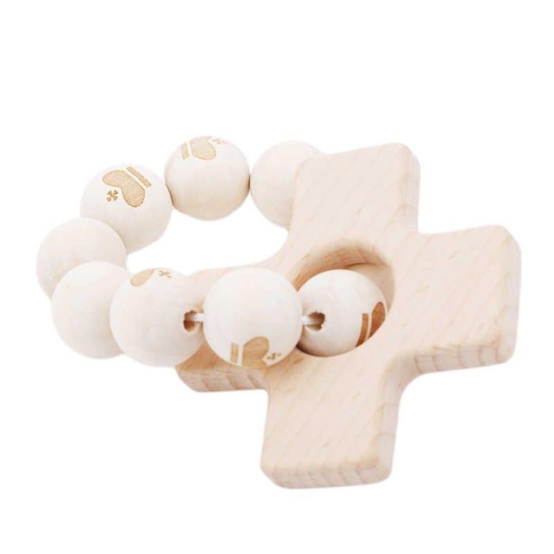 พยาบาลเด็กสร้อยข้อมือไม้ Teether ซิลิโคนลูกปัด Teething ไม้ Rattles ของเล่นเด็ก Teether สร้อยข้อมือพยาบาลของเล่นของขวัญ