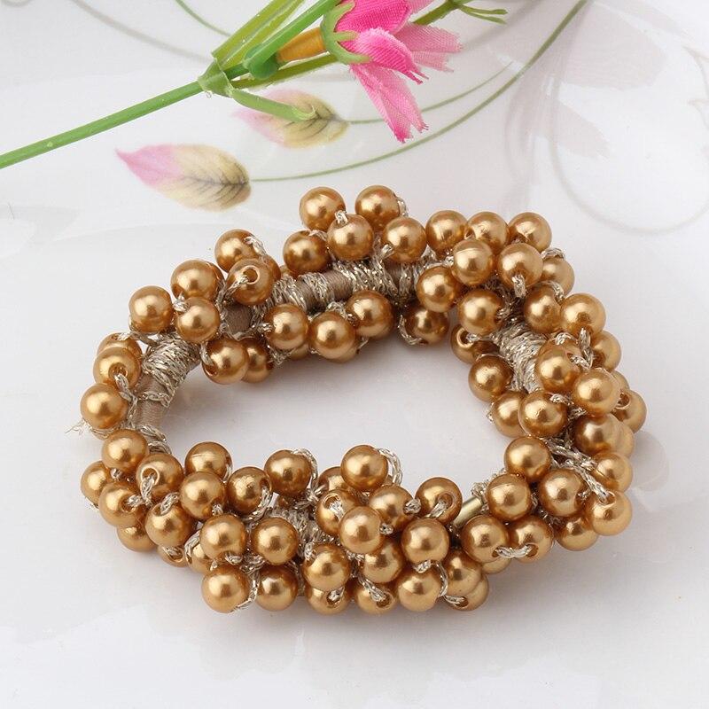 Solid scrunchy Beads Elastic Headbands Girls Hair Accessories Gun for Hair  Women Ponytail Holder Hair Ring Elastic Hair Bands 2e4bcecf56c