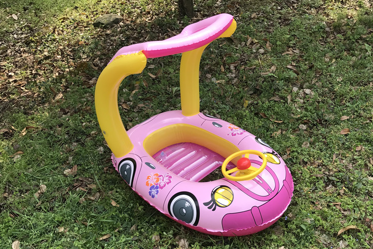 Car Shape Inflatable With Sunshade Floating Boat For Baby Play Water Bath Outdoor Toy Swim Ring Pool Toy Summer Ride-on