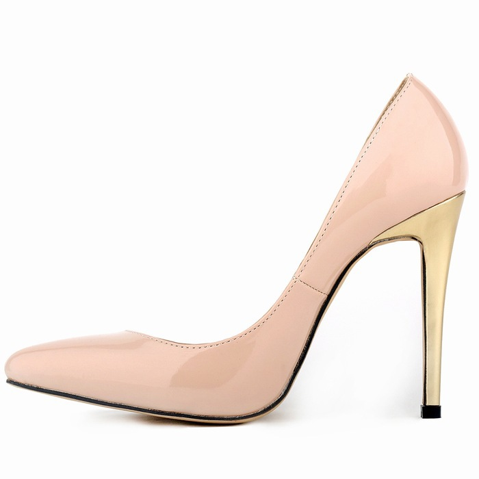 ФОТО New Style Summer Concise  Fashion Women Pumps Dress Pointed Toe Solid Patent Leather Mature Mature High Golgen Heels Pumps