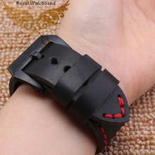 22mm 24mm NEW Mens Black Smooth Genuine Leather Watch BANDS Straps Red Stitching
