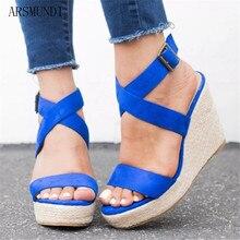 ARSMUNDI  2019 Summer Fashion Buckle Womens Sandals Flock Fish Mouth high Heel Platform Open Toes sandals M417