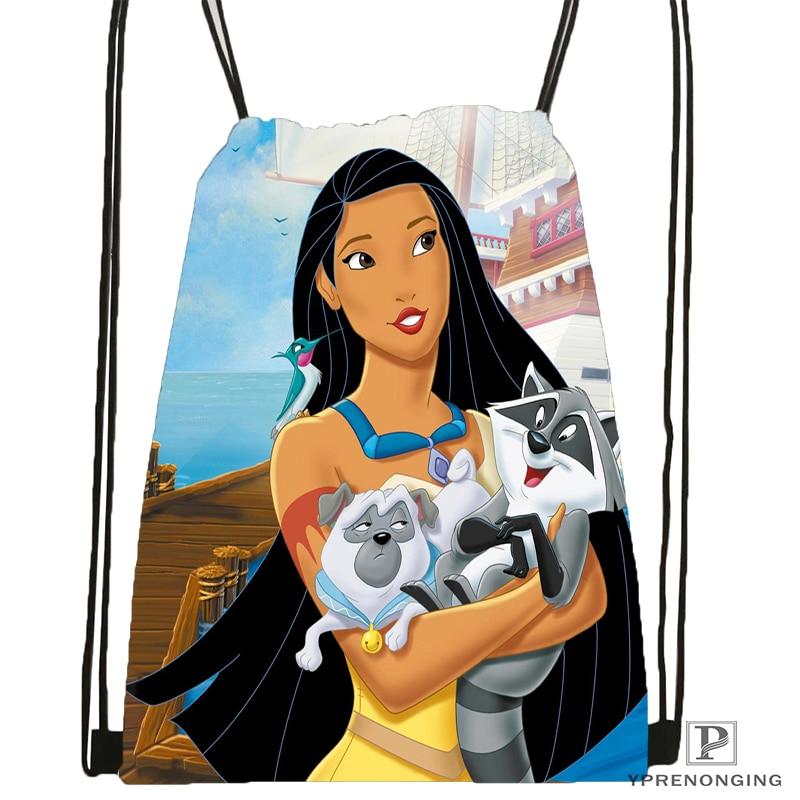 Custom Pocahontas Drawstring Backpack Bag Cute Daypack Kids Satchel (Black Back) 31x40cm#180531-02-12