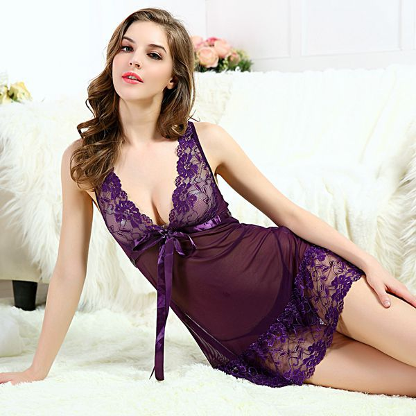 6dfaedf8a0b4 S-3XL Sexy Lace Plus Size Women Sleep Wears Sleeveless Nightgown Slim Girl  Casual Nightgowns With G String 2015