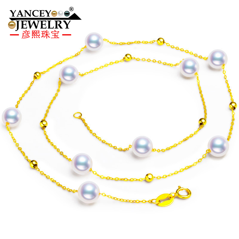 YANCEY Hot+ Stars round pearls, bright luster, fashion elegant Akoya pearl necklace lady, 18k gold, clavicle chain free shipping imitation pearls chain flatback resin material half pearls chain many styles to choose one roll per lot