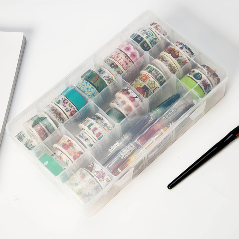 15 Compartments Clear Crafts Organizer Transparent Storage Box For Washi Tape Art Supplies And Sticker Stationery