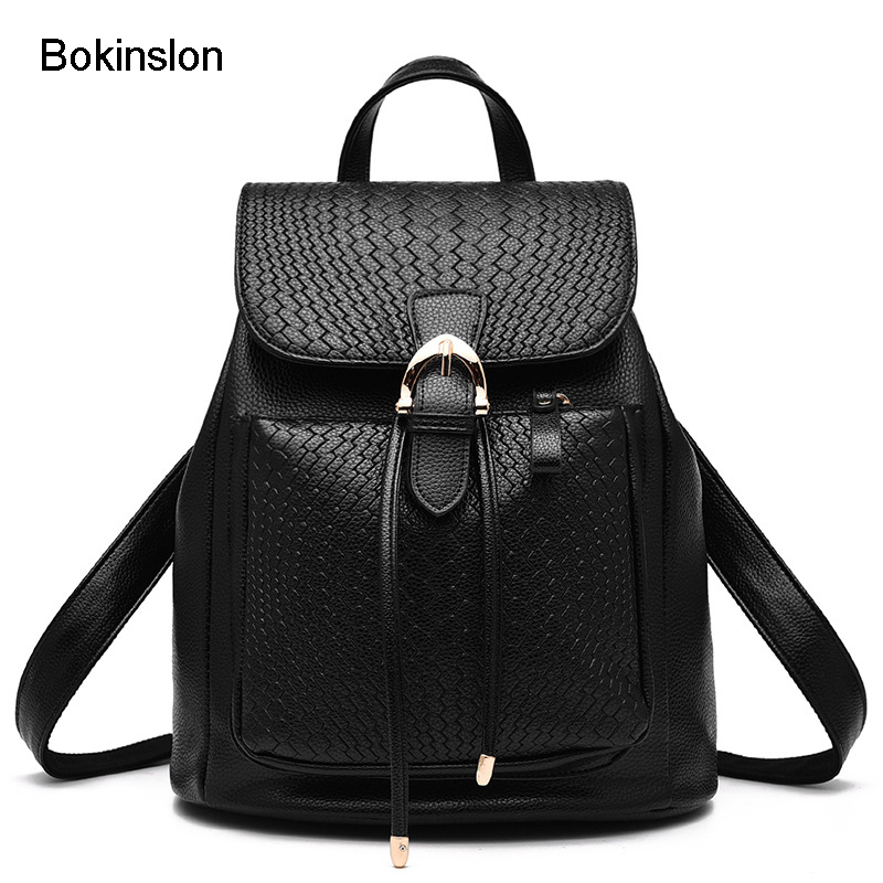 Bokinslon Brand Backpack Woman PU Leather Fashion Women Double Shoulder Backpack Popular Creative Student Backpacks