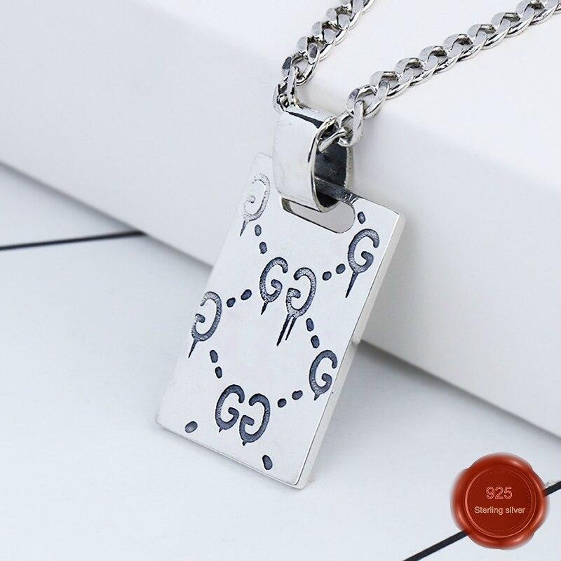 925% sterling argent vintage collier hommes et femmes rectangulaire personnalité lettre motif pendentif simple généreux cadeau à envoyer
