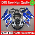 7gifts For SUZUKI Blue white GSXR 1000 00-02 GSXR1000 00 01 02 86MC275 GSX R1000 K2 Hot Blue GSX-R1000 2000 2001 2002 Fairing