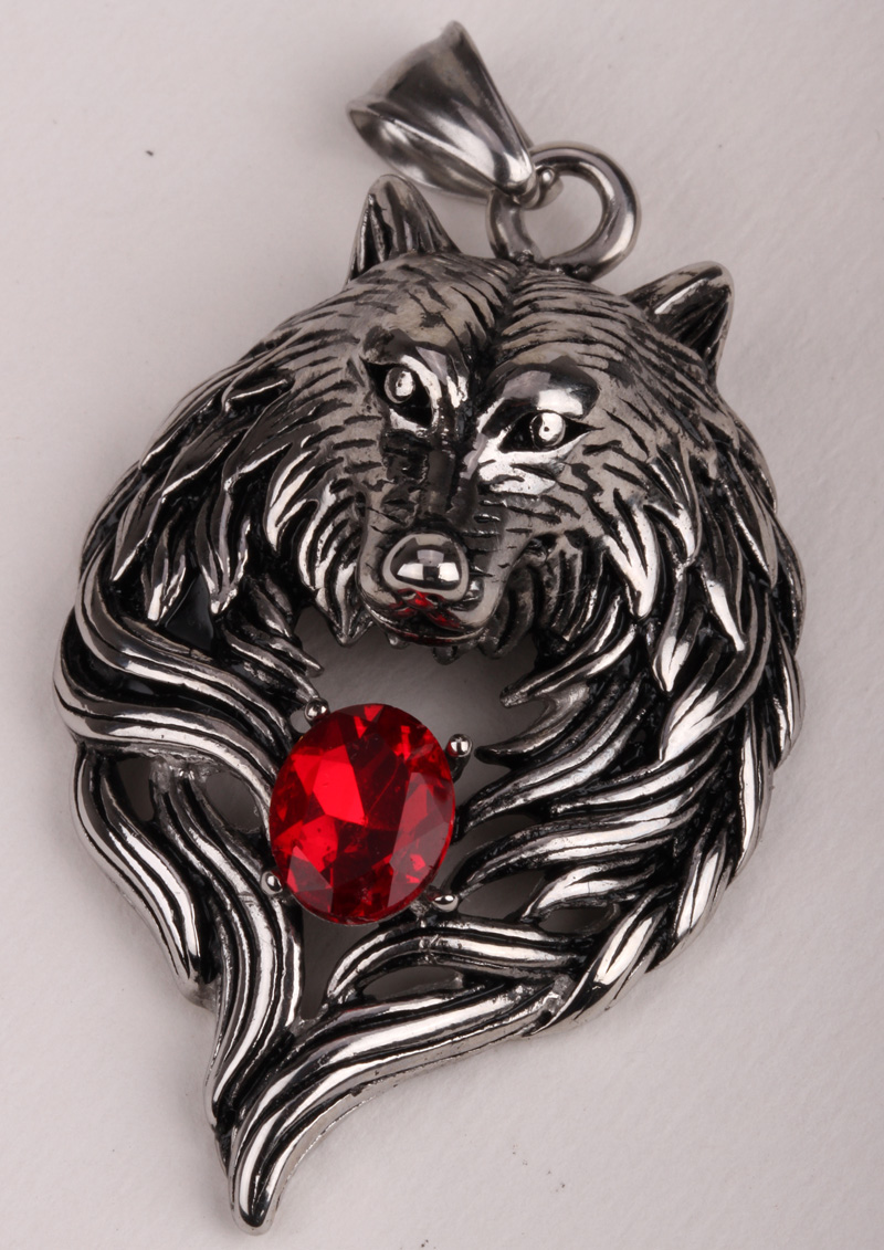 Wolf stainless steel necklace for men women 316L pendant W chain biker heavy jewelry animal charm