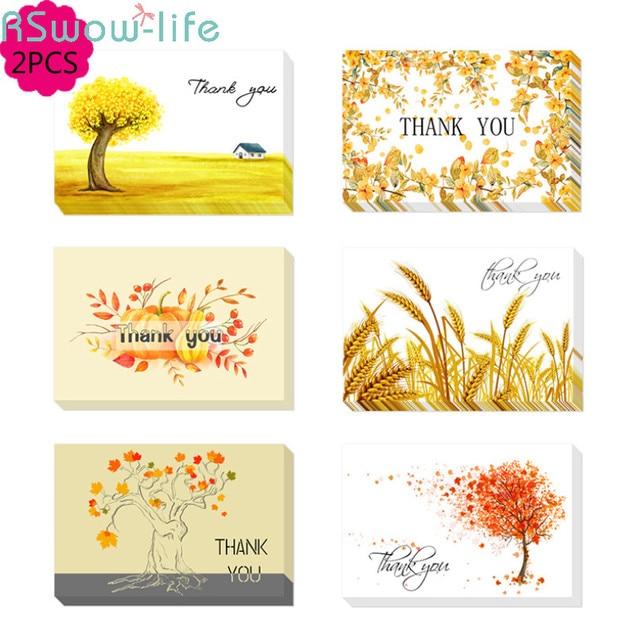 Thank You Card Golden Theme Greeting Cards Folding Type Autumn