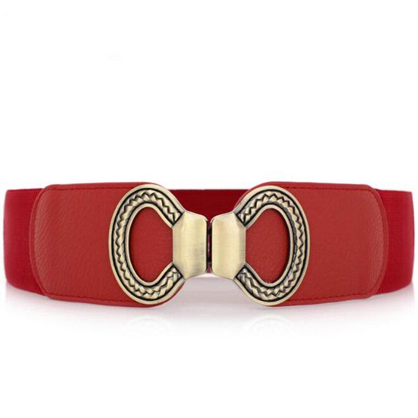 Elegant Women Elastic Waist Belt Metal Buckle Stretch Waistband Strap Corset Cinch Red Black Color