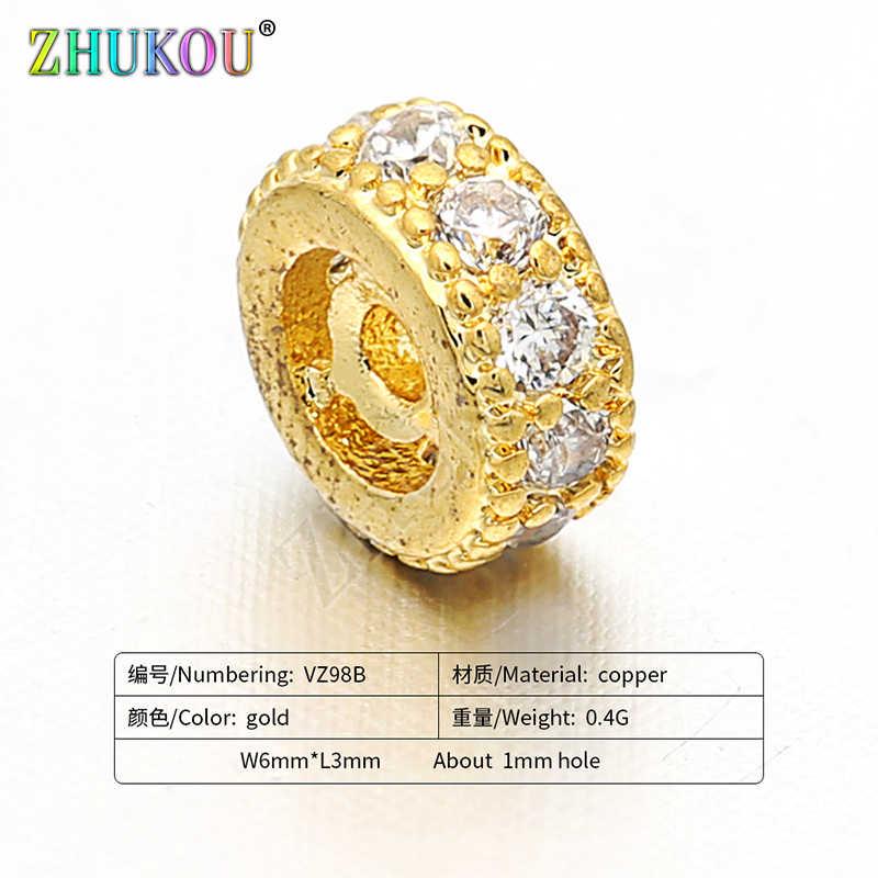 6 millimetri In Ottone Cubic Zirconia Rotondo Del Distanziatore Perline FAI DA TE Risultati Dei Monili Accessori, Foro: 3mm, Modello: VZ98