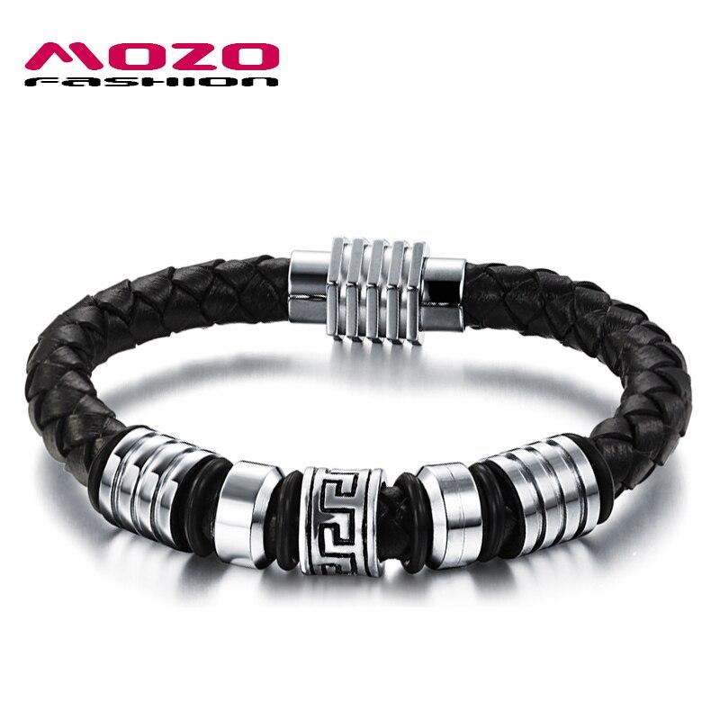 Prix pour MOZO MODE Hommes Bijoux En Acier Inoxydable En Cuir Corde Bracelets Mâle Rétro Bracelet L'innovation Conception Personnalité Cadeau MPH900