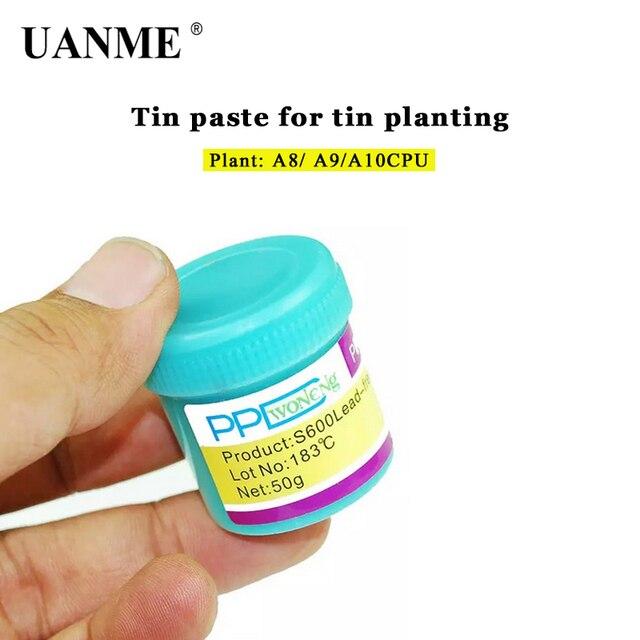 Uanme ppd melhor ponto de derretimento, 138 / 183 graus, sem chumbo, baixa temperatura, pasta de solda para a8 a9 a10 a11 chip de lata especial