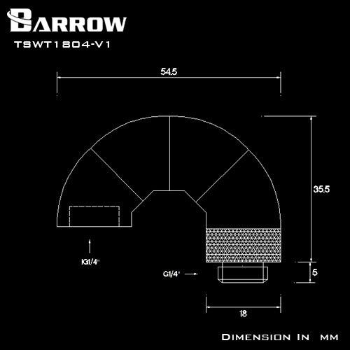 Купить с кэшбэком BARROW G1/4'' Thread 180 Degree Rotary Fitting Adapter Rotating 180 Degrees Water Cooling Metal Adaptors TSWT1804-V1