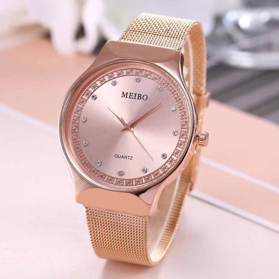Top Brnad Rose Gold Watch Women Luxury Ultra-thin Mesh Stainless steel Wrist Watches Woman Ladies Fashion Quartz Clock