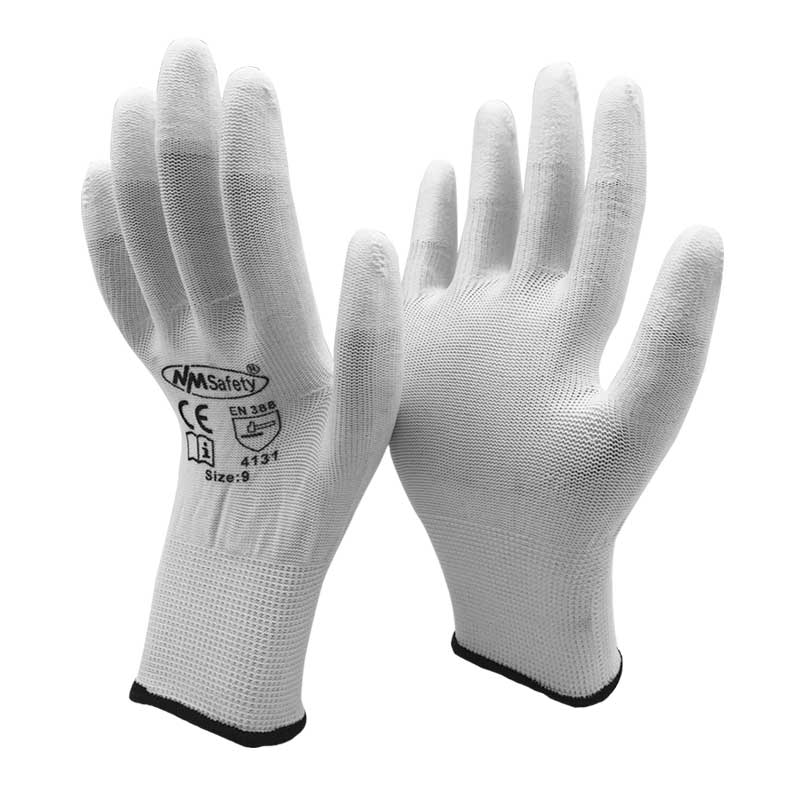 NMSAFETY 13 Gauge Knitted White Nylon Dipping PU Finger Anti Static ESD Safe Universal Glove anti static elastic finger cots stalls yellow size l 50 pcs