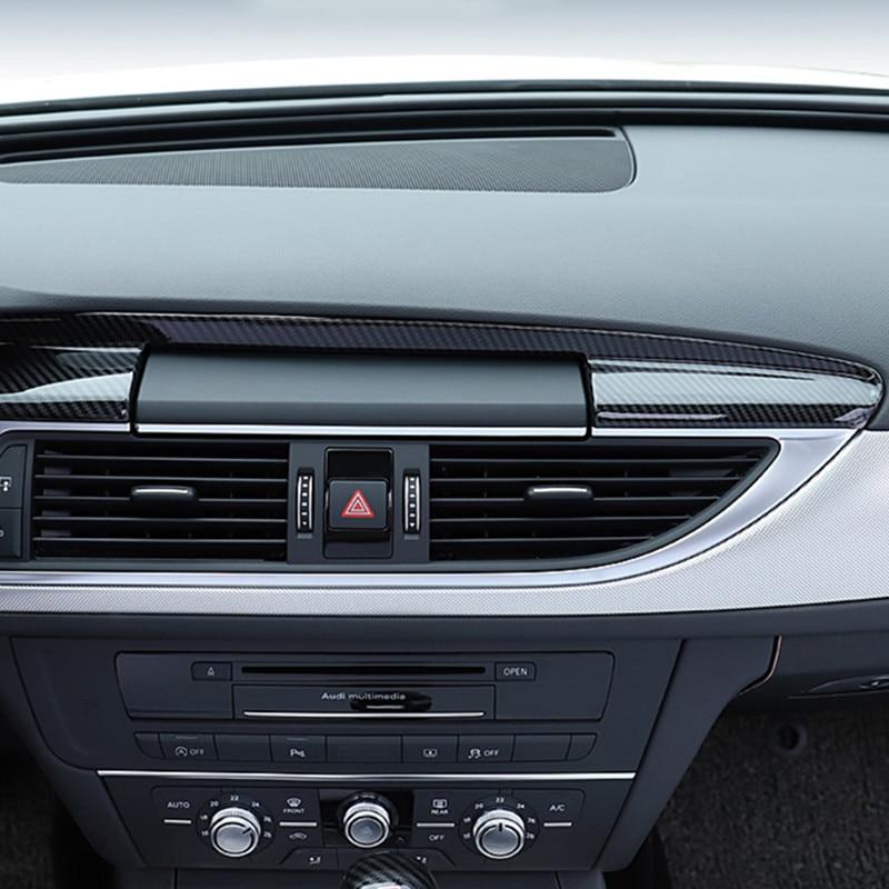 Estilo do carro de fibra carbono cor console central painel navegação capa guarnição para audi a6 c7 a7 interior acessórios automóveis