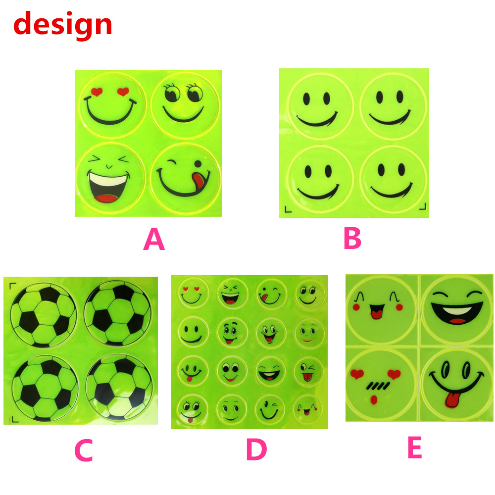 Image 5 - 2Sheet/Set Funny Reflective Bicycle Bike Sticker Smiling Face Pattern Night Riding Decal Night Riding Roadway Safety Sticker-in Reflective Material from Security & Protection