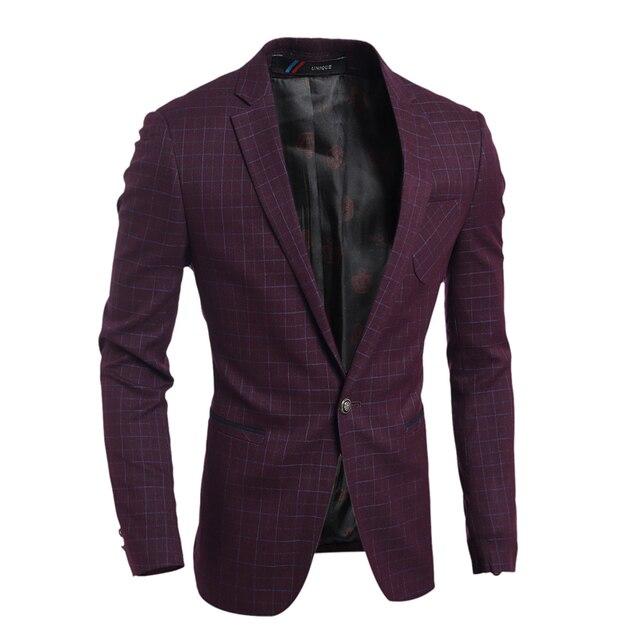 2016 Fiesta de La Moda Para Hombre slim fit cotton blazer Chaqueta de Traje azul Marino Vino Tinto Masculina blazers Mens capa de vestido de Novia