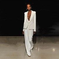 Jacket+Pants Ivory Women Business Suits Blazer Female Office Uniform 2 Piece Set Ladies Winter Formal Trouser Suit Womens Tuxedo