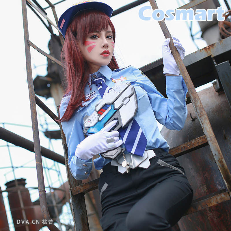 [STOCK]Game OW D.VA Policewoman Skin Uniform Cop Wear Sheriff Look +Hat Halloween Cosplay costume for womenNew free shipping