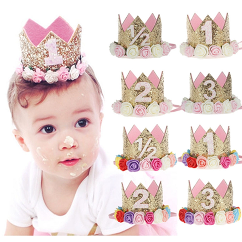 Girl Outfit First Birthday 1st Flower Shinny Princess Crown Baby Pink White Purple Birthday Hat Cake