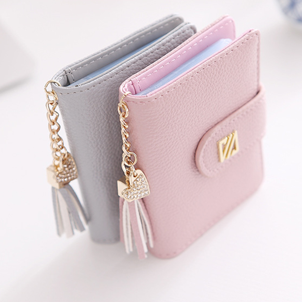 22 Card Slots Heart Tassel Pendant Faux Leather