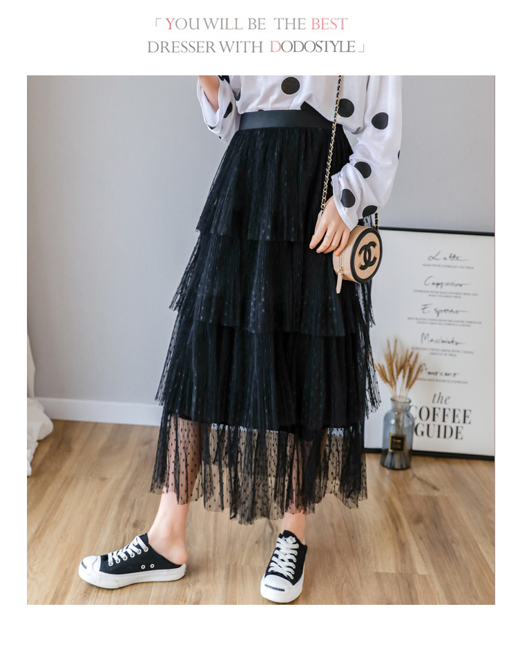 Fitaylor Spring New Sweet Cake Layered Long Mesh Skirts Princess High Waist Ruffled Vintage Tiered Tulle Pleated ins Skirts 12