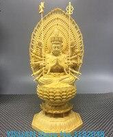 Белый кипарис дерево тысяча рук Гуаньинь резные статуи Будды, китайский твердой древесины украшения дома резьба ремесла