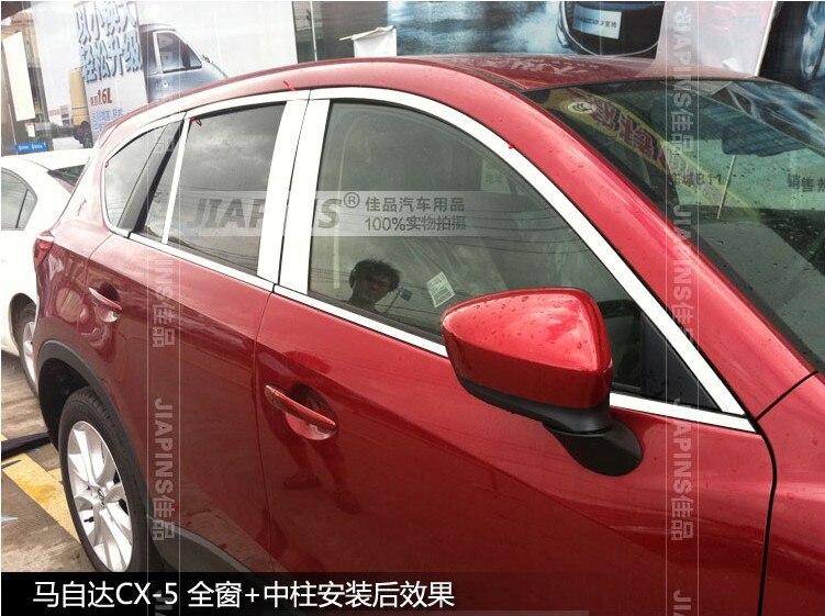 Haute Qualité! Pour Mazda 12 13 CX-5 CX5 2012 2013 garniture de seuil de fenêtre en acier inoxydable avec pilier central un ensemble 20 pièces