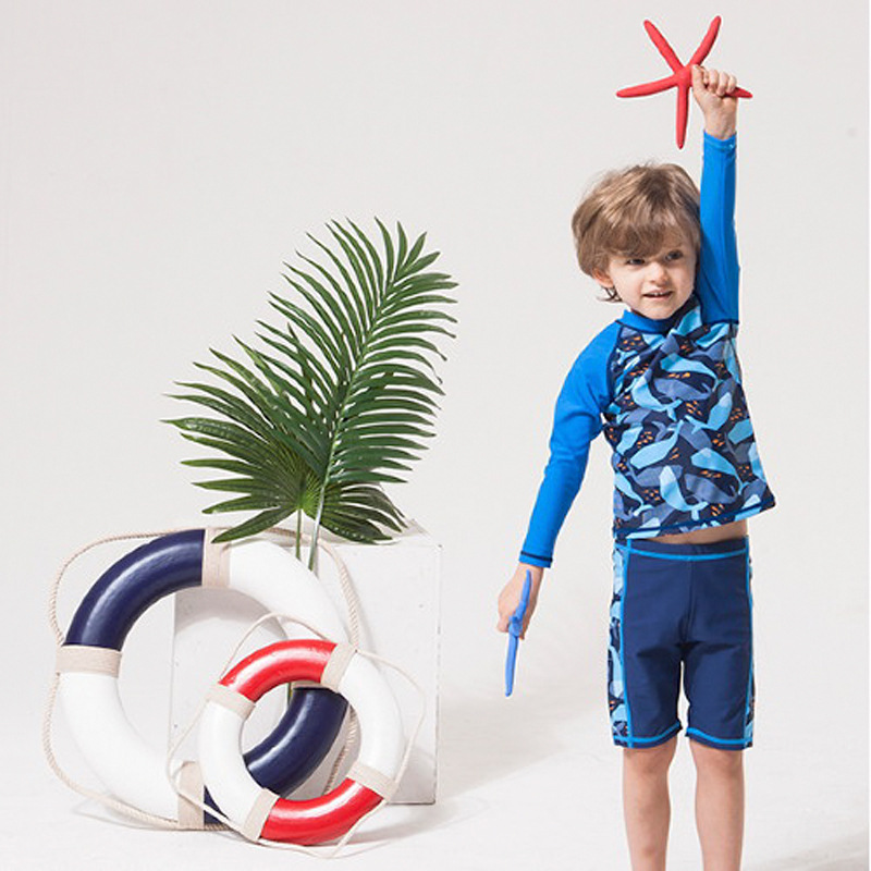 Boys Swimsuit 2020 Children Boys Swim Wear Baby Kids Swimsuits Beach Two Pieces Long Sleeve Sunscreen Bathing Suit