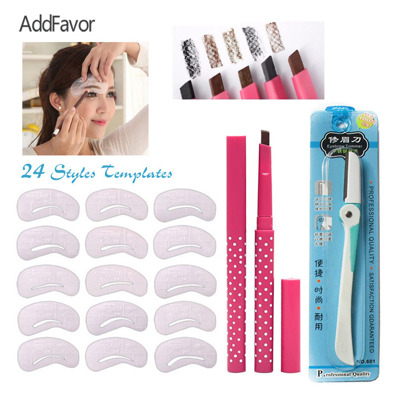 AddFavor Beauty Makeup Set Auto Eyebrow Pencils Eyebrow Trimmer 24 Styles Brow Stencil Card Drawing Eyebrow Templates Aid Tools