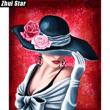 "Zhui Star Full Square Drill 5D DIY diamante pintura ""sombrero belleza"" hecho a mano 3D bordado artes punto de cruz mosaico regalo de la decoración(China)"